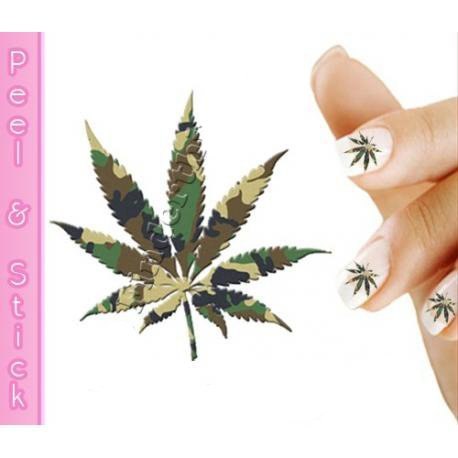 Green Camo Pot Leaf Weed Nail Art Decal Sticker Buy Online In Oman