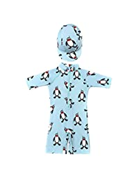 Wind Goal Kid One-Piece Swimsuits with Sun Hats Baby Boy Long Sleeve Zipper Rash Guard Swimwear