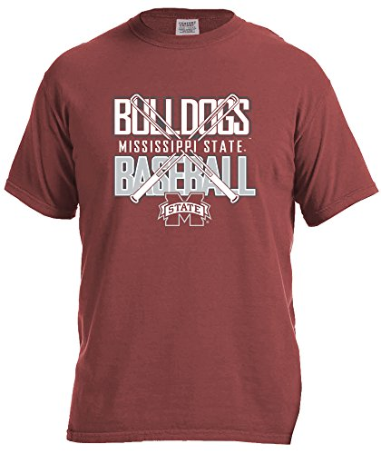 (NCAA Mississippi State Bulldogs Baseball Bats Short Sleeve Comfort Color T-Shirt, Small,Brick)