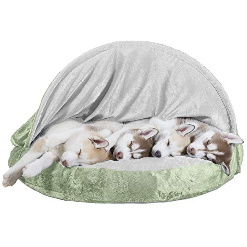 Furhaven Dog Bed | Orthopedic Round Cuddle Nest Micro Velvet Snuggery Burrow Pet Bed for Dogs & Cats, Sage, 35-Inch