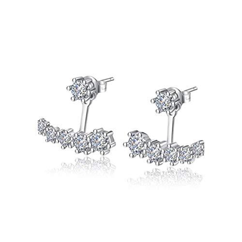 Luxury 925 Sterling Silver Earrings Six Claw Zirconia Front Back Double Sided Leaves Stud Earrings For Women