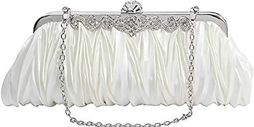 Elf of Bolsas - Evening Handbag Classic Satin Detachable Strap Ivory Clutch