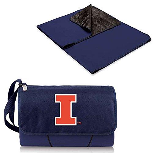 NCAA Illinois Fighting Illini Outdoor Picnic Blanket Tote, Navy (Fighting Blanket Illini)