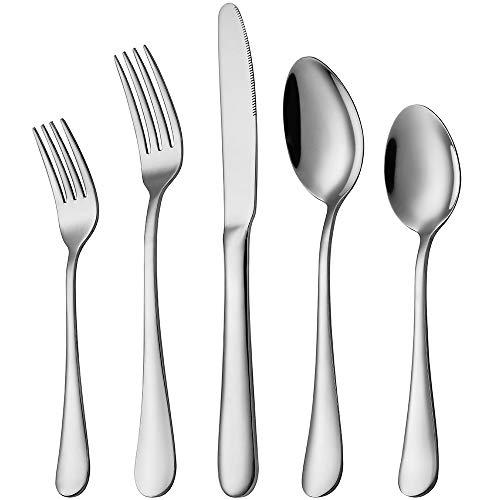 Silverware Set, Devico 20-Piece Stainless Steel Metal Flatware Utensils Cutlery set for 4, Mirror Polished, Dishwasher…