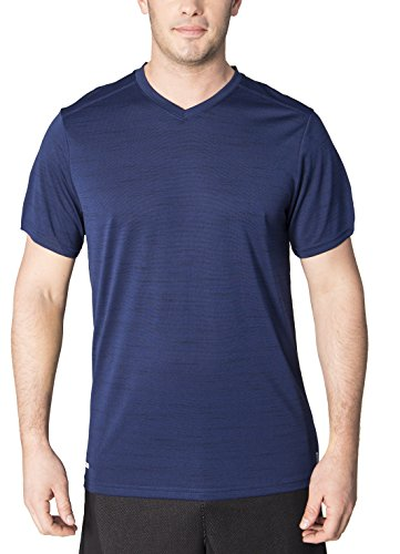 RBX Active Mens Heather Jersey Fitted V-Neck Tee New Navy S (Full Vest Jersey Baseball Button)