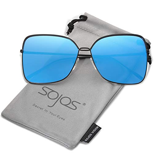 (SOJOS Fashion Oversized Square Sunglasses for Women Flat Mirrored Lens SJ1082 with Matte Black Frame/Dark Blue Mirrored Lens)