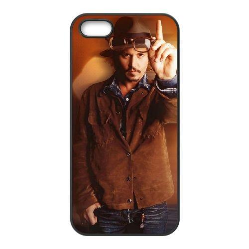 Johnny Depp 002 coque iPhone 5 5S cellulaire cas coque de téléphone cas téléphone cellulaire noir couvercle EOKXLLNCD24875