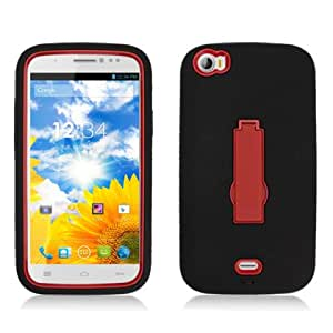 Dual Layer Plastic Silicone Black On Red Hard Cover Snap On Case W/ Kickstand For BLU Life View L110a (Accessorys4Less)