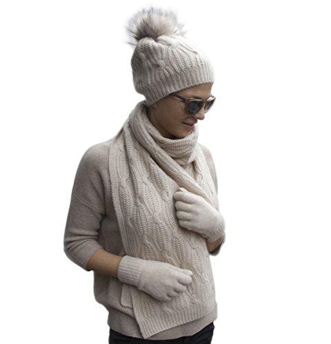 Large Braided 100% Cashmere Women's Winter Scarf (Beige) 21-16-020