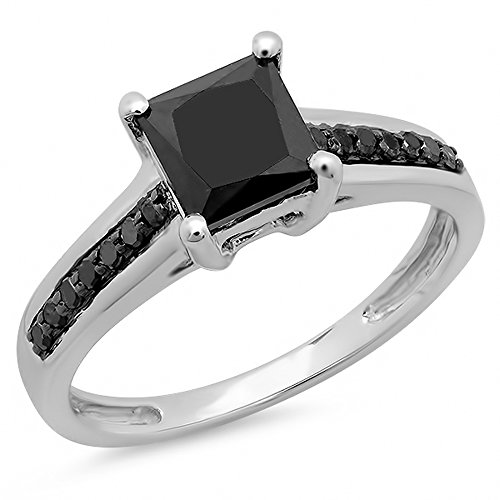 1.60 Carat (ctw) 14K White Gold Princess & Round Cut Black Diamond Ladies Bridal Solitaire With Accents Engagement Ring (Size 7)