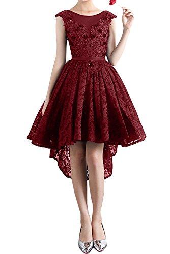Weinrot Promkleid Ivydressing Partykleider Sweetheart Spitzenkleid Abendkleider Damen Rundkragen Kurz H4CwPqa