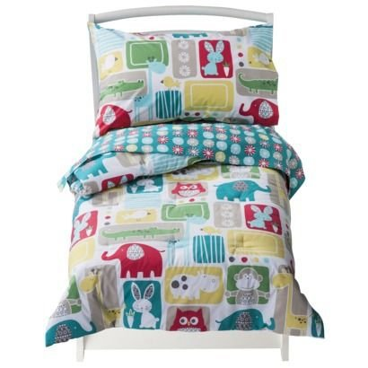 (4 Piece Bold Animals Toddler Bedding Set by Sumersault)
