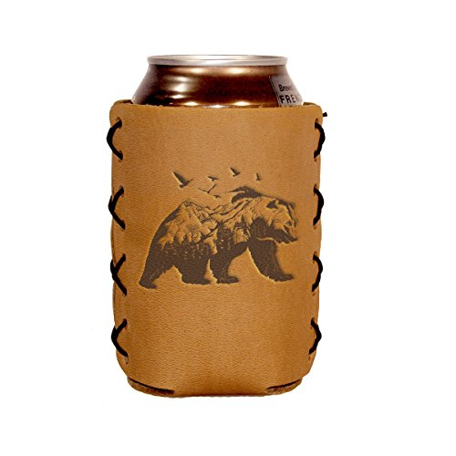 (Mountain Bear design on a Genuine Leather Can Holder Sleeve)
