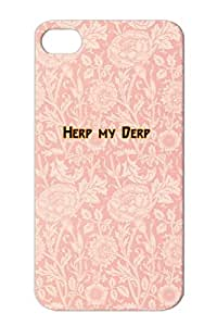Herp My Derp Stupid And Dopey Idiots Tear-resistant Yellow For Iphone 4/4s Satire Funny Cover Case