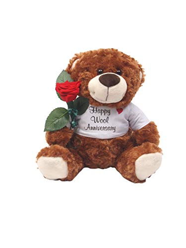 JustPaperRoses Happy 7th Wedding Anniversary Teddy Bear with Wool Rose -