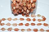 25 Feet Sunstone Rosary Beaded Chain-Sunstone Faceted Nuggets Wire Wrapped Rosary Chain, 10-13 mm by LadoNarayani