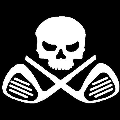 Keen Golf Clubs Skull and Crossbones Vinyl Decal Sticker|Cars Trucks Vans Walls Laptops|White|5.5 in|KCD559 - Keen Laptop Bag