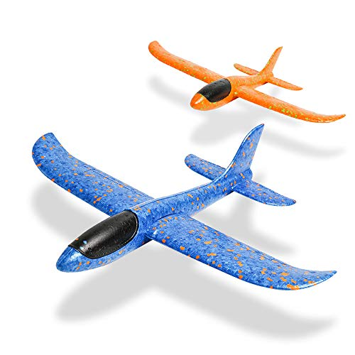 JOCHA Foam Airplane Aircraft Model Hand Launch Glider Plane Soft Throw Airplanes Outdoor Sports Toys for Kids Gift 2 Pack