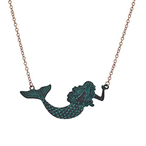 Lux Accessories Rose Goldtone Chain Patina Mermaid Necklace (Rose Gold Tone Chain)