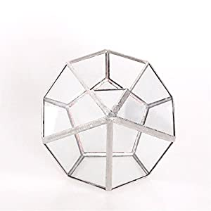 5.3 inches Silver Handmade Wall Hanging Geometric Glass Terrarium Window Sill Balcony Succulent plants Planter Small Indoor Decoration Flower Pot Vase Centerpiece for Wedding Coffee Table (No Plants) 5