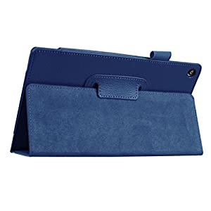 Anxinke PU Leather Magnetic Closure System Folio Case Tablet Computer Monitor Stand Cover For Amazon Fire HD 8Inch Tablet (Dark Blue)