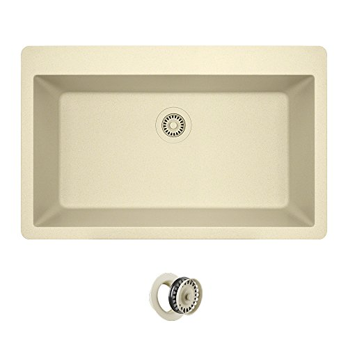 T848 Topmount Large Single Bowl Kitchen Sink, Beige, Colored Flange