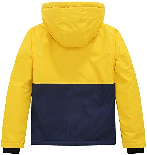 Wantdo Boy's Waterproof Quilted Ski Jacket Cotton Padded Coat Hooded Rainwear(Yellow+Dark Blue, 6/7) by Wantdo (Image #2)