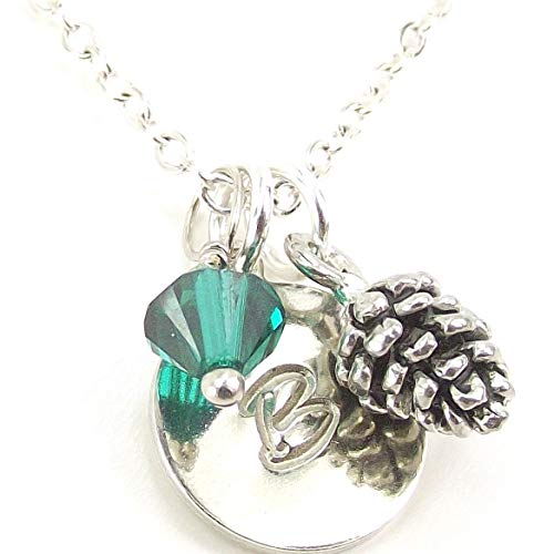 LaFenne Personalized Pinecone Necklace Made with Birth Month Crystal from Swarovski and Custom Initial - Medallion Pinecone