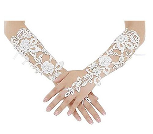 SIPEI Long Fingerless Rhinestone Beaded Lace Bridal Gloves for Formal Wedding Prom Party (Ivory)