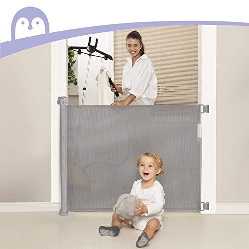 """Retractable Baby Gate, Momcozy Mesh Safety Gate For Babies And Pets, Extra Wide Safety Baby Gate 33.7"""" Tall, Extends To 55"""" Wide, Pet Dog Gate For Doorways, Stairs, Hallways, Indoor/Outdoor (Grey)"""