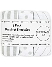 Bassinet Fitted Sheet Set 3 Pack 100% Jersey Gray Cotton for Baby Girl/Boy - Grey Chevron Polka Dot and Stripe 160 GSM by NODNAL Co.