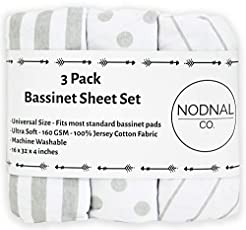 NODNAL CO. Bassinet Fitted Sheet Set 3 P...