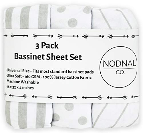 NODNAL CO. Bassinet Fitted Sheet Set 3 Pack 100% Jersey Gray Cotton for Baby Girl/Boy - Grey Chevron, Polka Dot and Stripe 160 GSM Sheets ()