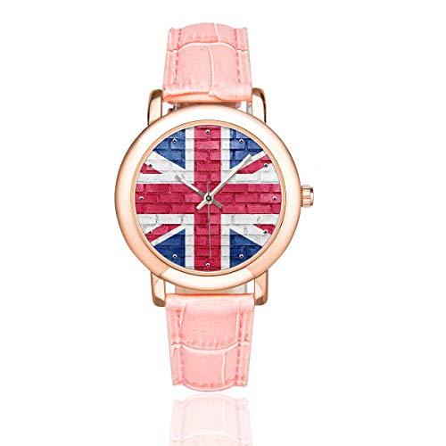 (InterestPrint Women's Pink Leather Strap Watches Union Jack Flag Waterproof Wrist Watch)