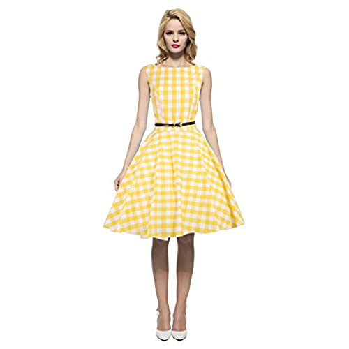 Maggie Tang Womens 1950s Vintage Rockabilly Dress Size S Color Yellow Check