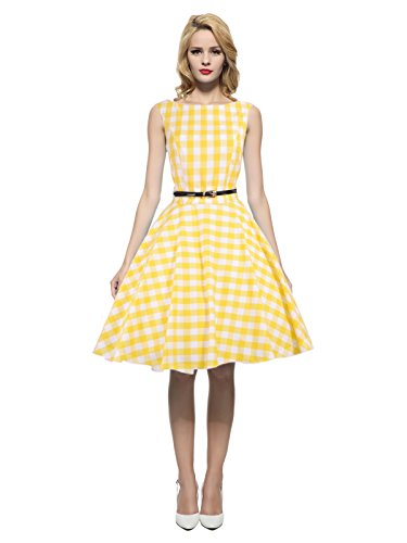 Maggie Tang Women's 1950s Vintage Rockabilly Dress Size 2XL Color Yellow Check