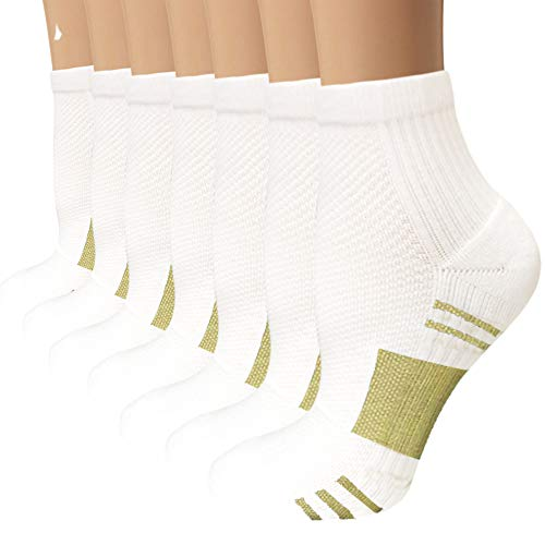 Sport Plantar Fasciitis Compression Socks Arch Support Ankle Socks- Best For Running, Athletic, and Travel (7 White, Small/Medium)