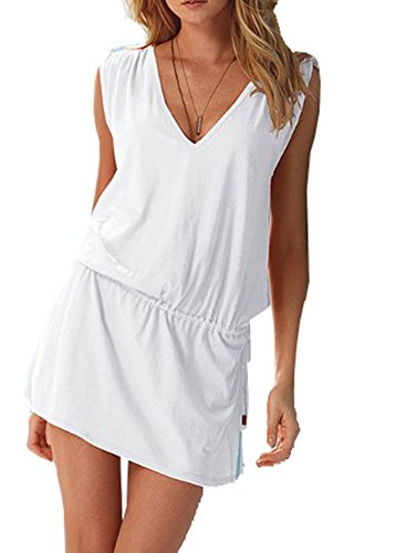 Womens Princess Dresses (Wander Agio Womens V-neck Sleeveless Princess Dress Beach Cover-up Pure White)