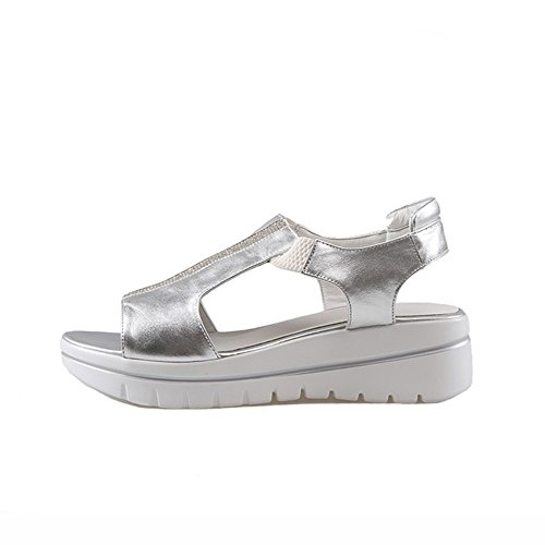Toe Silver On AmoonyFashion Kitten Open Sandals Material Soft Solid Pull Womens Heels OOPq4gz