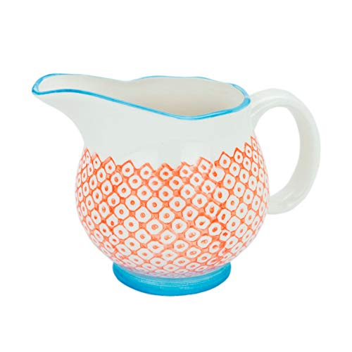 Nicola Spring Porcelain Milk, Gravy & Cream Jug - Patterned Orange/Blue, 300ml