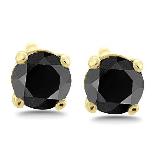 4.00 ct tw Natural Black Natural Round Diamond Studs 14K Gold Screw Back