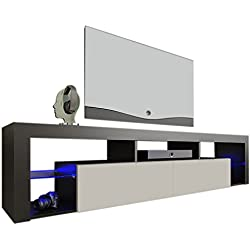 "Meble Furniture & Rugs TV Stand Milano 200 LED Wall Mounted Floating 79"" TV Stand (Black/White)"