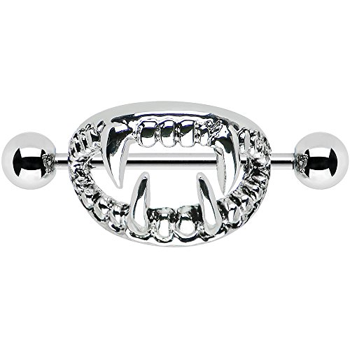 Fang Ring (Body Candy Stainless Steel Scary Halloween Fangs Nipple Shield Set 14 Gauge)