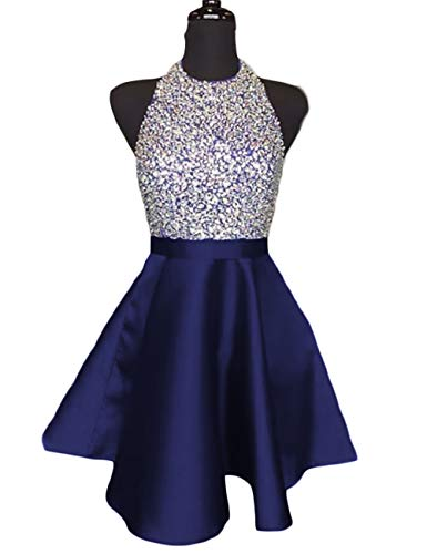 Lcrs Juniors Short Homecoming Dresses Pockets Satin Beaded Halter