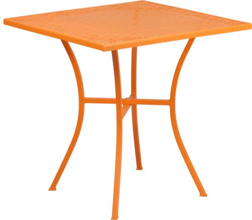 28'' Square Orange Finish Indoor-Outdoor Steel Restaurant Table - Patio Table