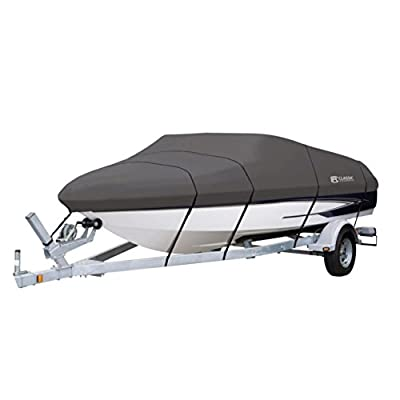 Classic Accessories StormPro Heavy-Duty Boat Cover with Support Pole for V-Hull Runabouts