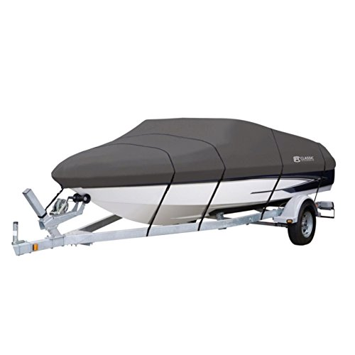 (Classic Accessories StormPro Heavy-Duty Boat Cover With Support Pole For V-Hull Runabouts, 17' - 19' L Up to 102