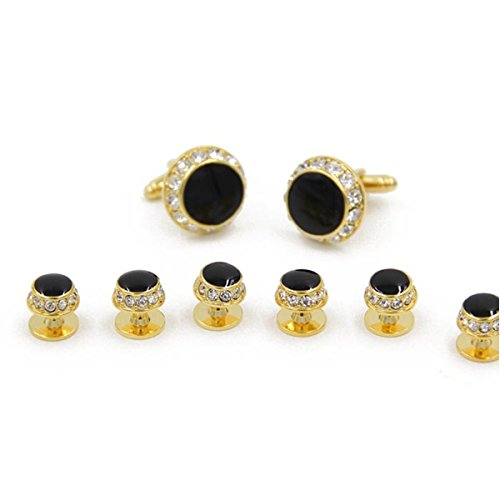 - SunShine Day Hot Sale CZ Gold-Plated Formal Set Cufflinks and Studs In a Presentation Gift Box Suit Wedding Business