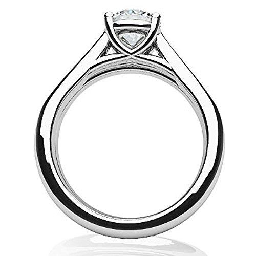 14K Or blanc diamant rond Cathédrale de mariée Ensemble