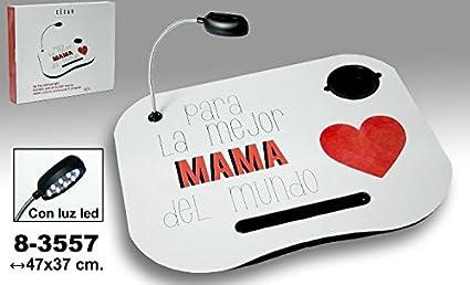 DRW - Bandeja Ordenador portátil con lámpara extraíble de Madera y PVC con Logo en Color